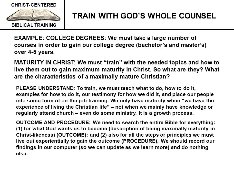 TRAIN WITH GOD'S WHOLE COUNSEL