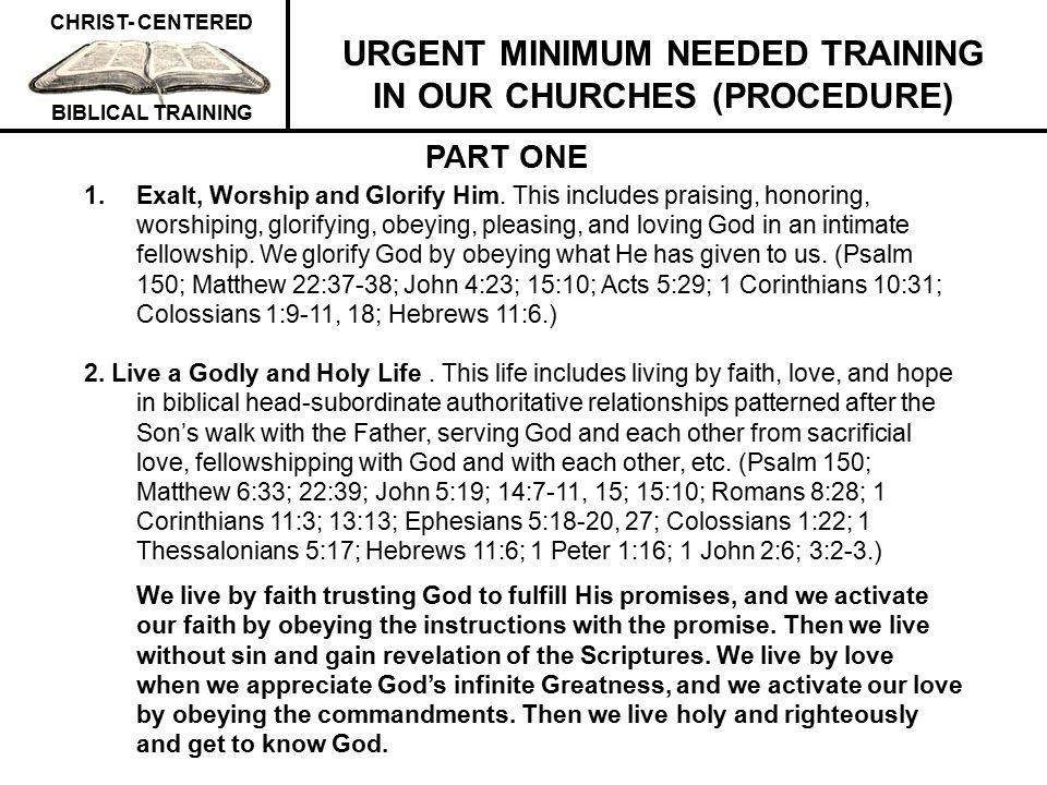 URGENT MINIMUM NEEDED TRAINING IN OUR CHURCHES (PROCEDURE)