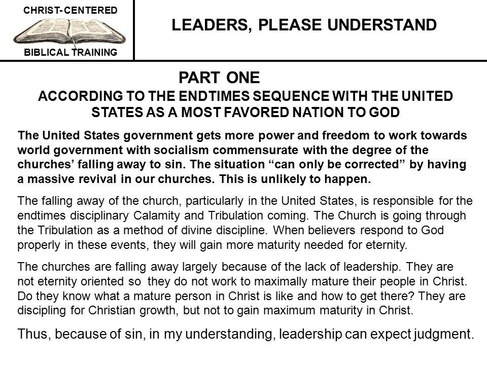 LEADERS, PLEASE UNDERSTAND