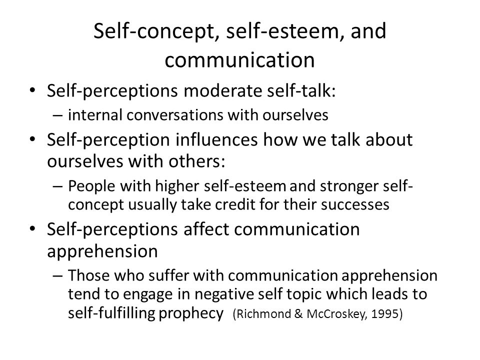 Self-concept, self-esteem, and communication