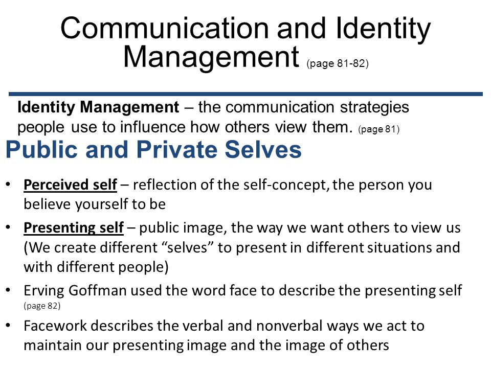 Communication and Identity Management (page 81-82)