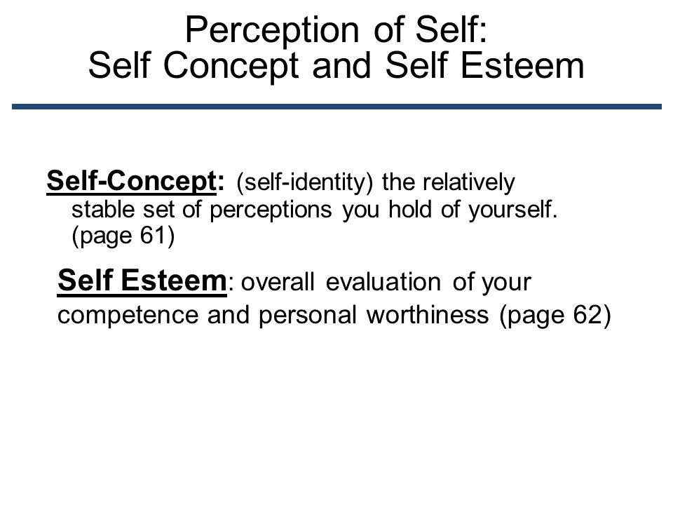 Perception of Self: Self Concept and Self Esteem