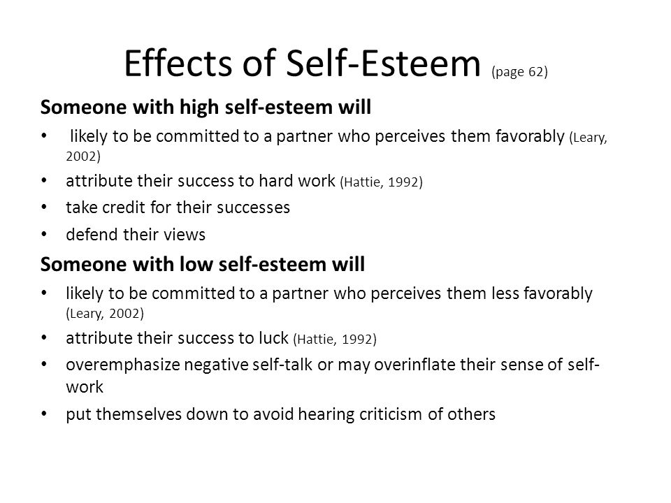 Effects of Self-Esteem (page 62)