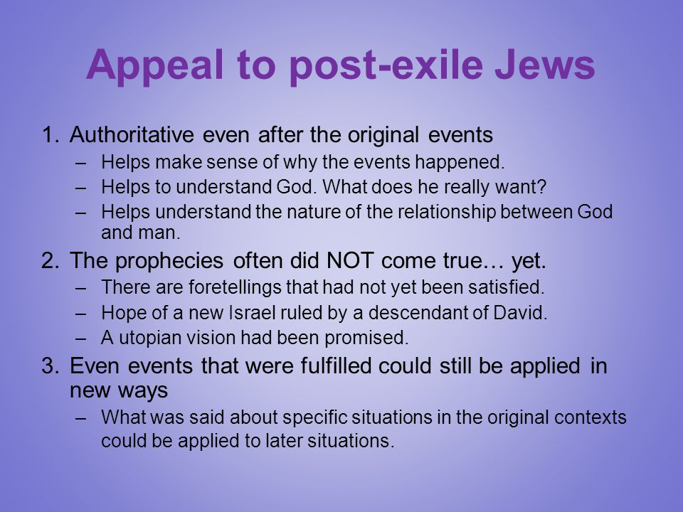 Appeal to post-exile Jews