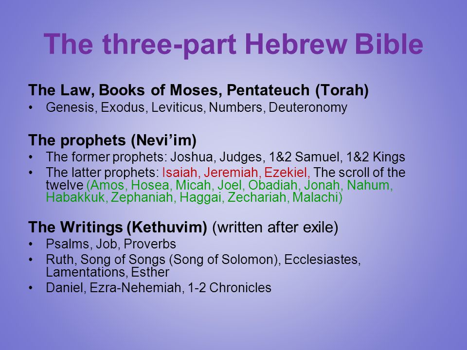 The three-part Hebrew Bible