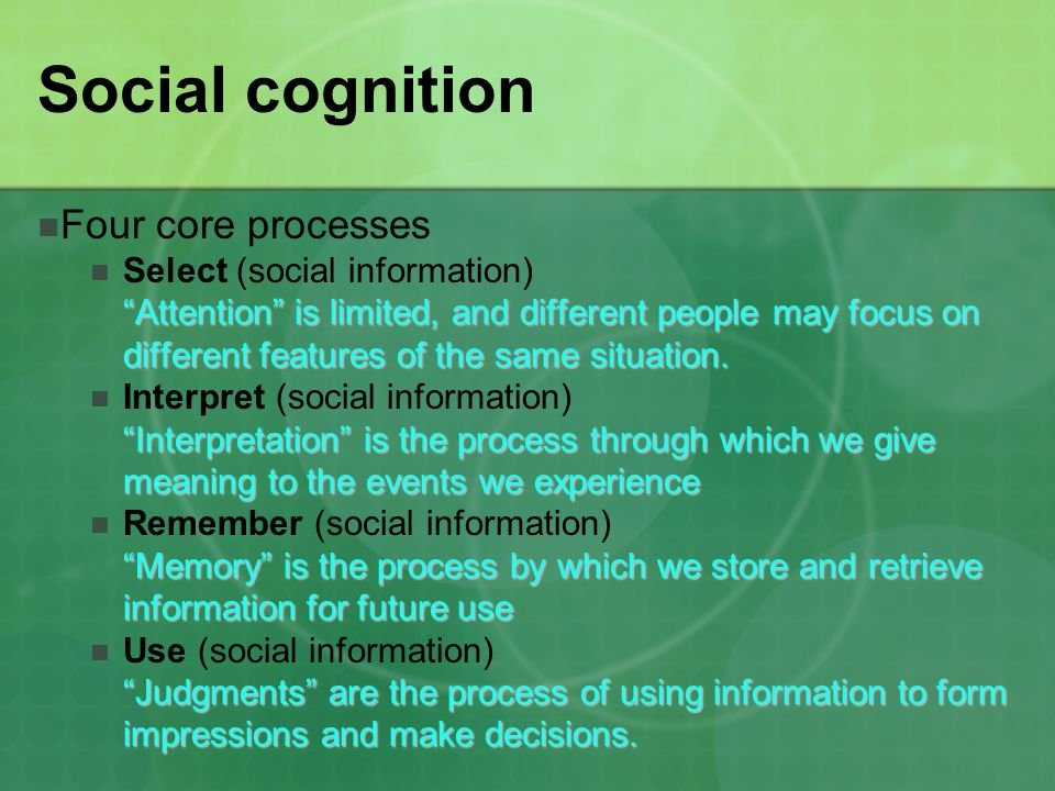 Social cognition Four core processes Select (social information)