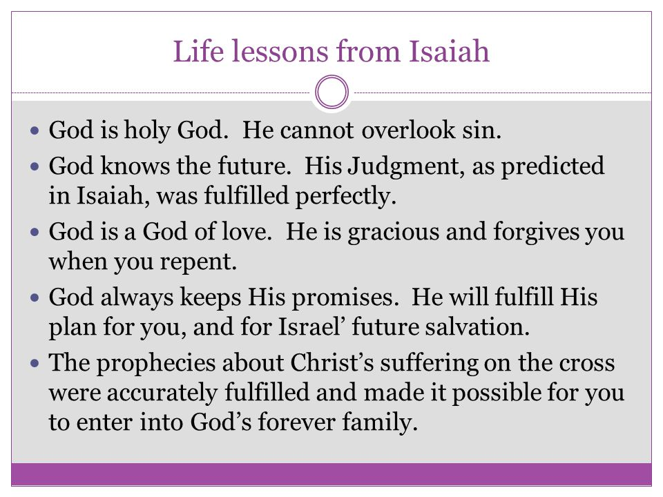 Life lessons from Isaiah