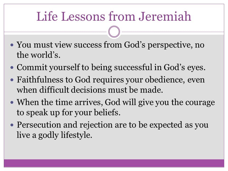 Life Lessons from Jeremiah