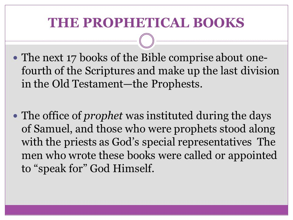THE PROPHETICAL BOOKS