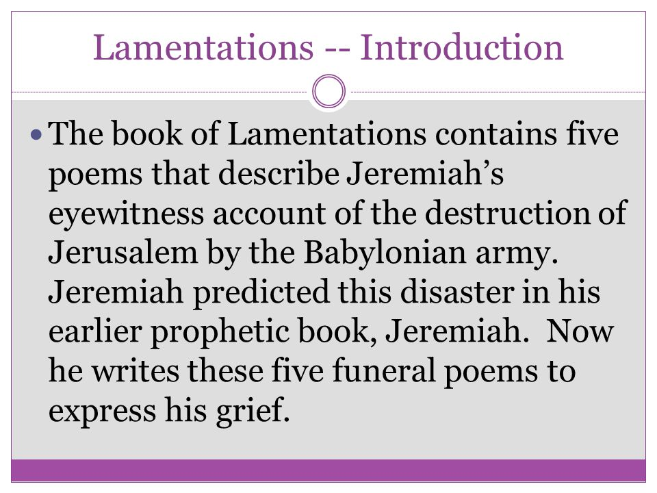 Lamentations -- Introduction