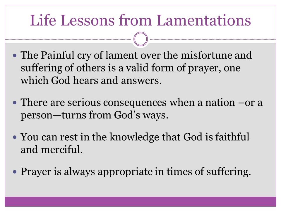 Life Lessons from Lamentations