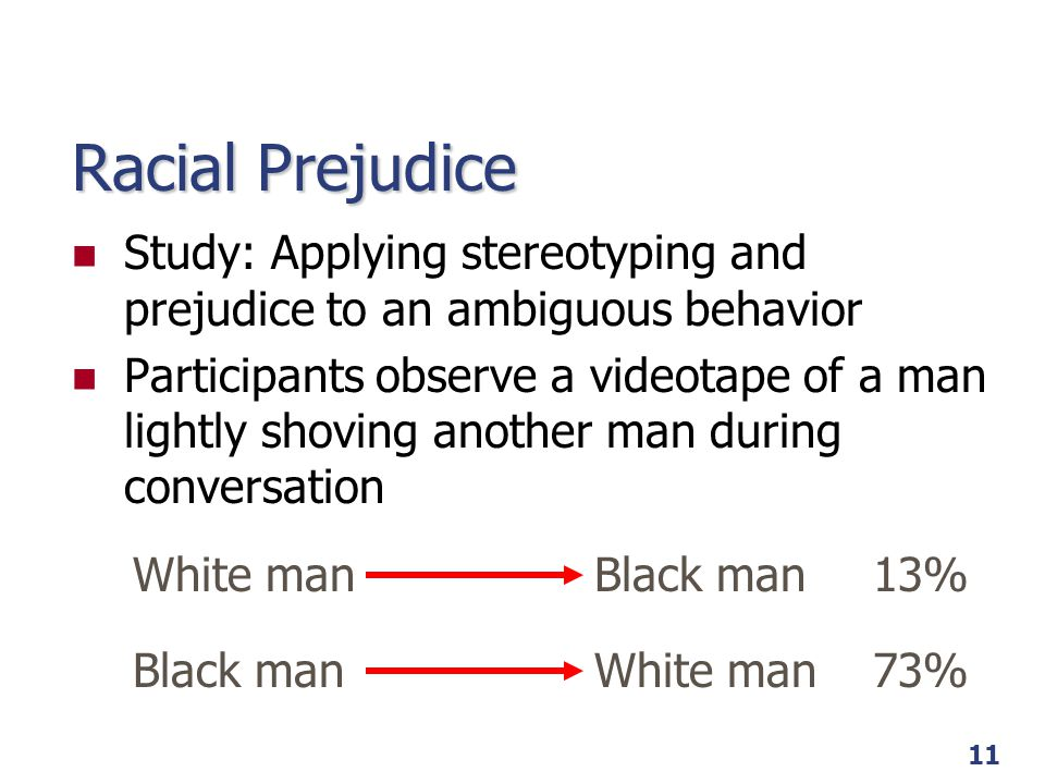Racial Prejudice Study: Applying stereotyping and prejudice to an ambiguous behavior.