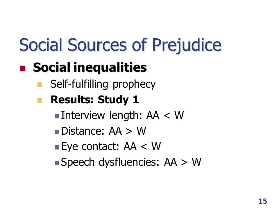 Social Sources of Prejudice