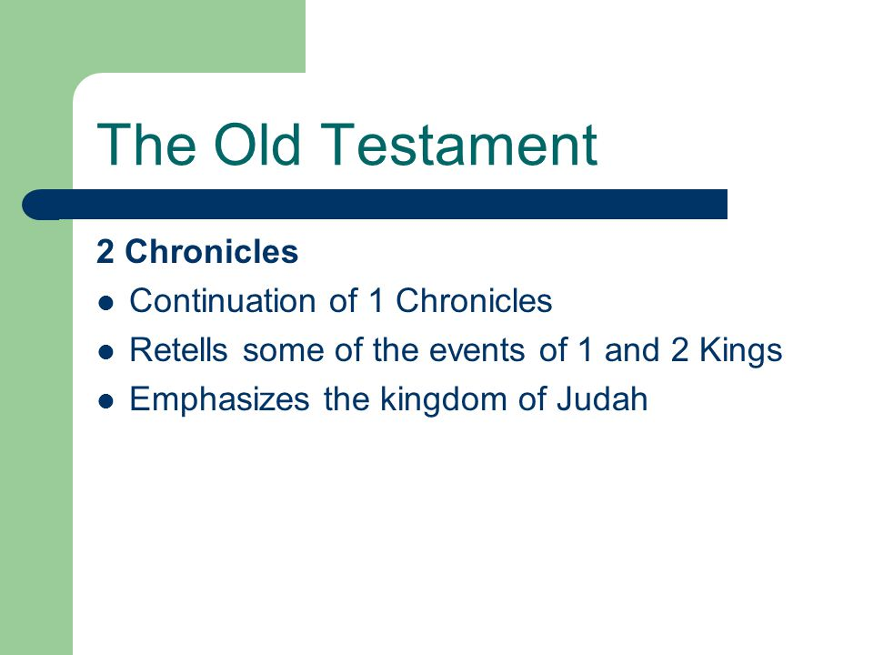The Old Testament 2 Chronicles Continuation of 1 Chronicles