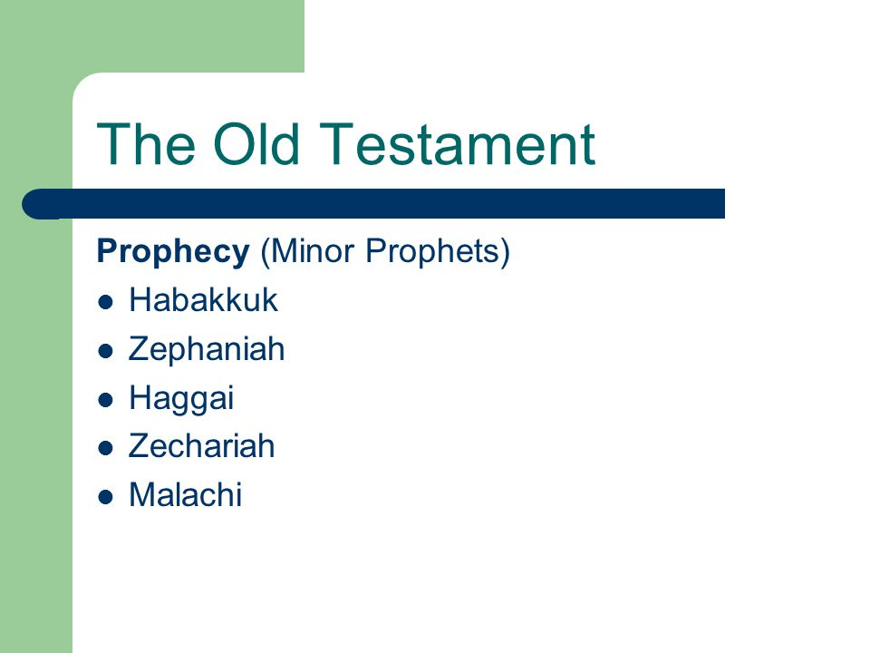 The Old Testament Prophecy (Minor Prophets) Habakkuk Zephaniah Haggai