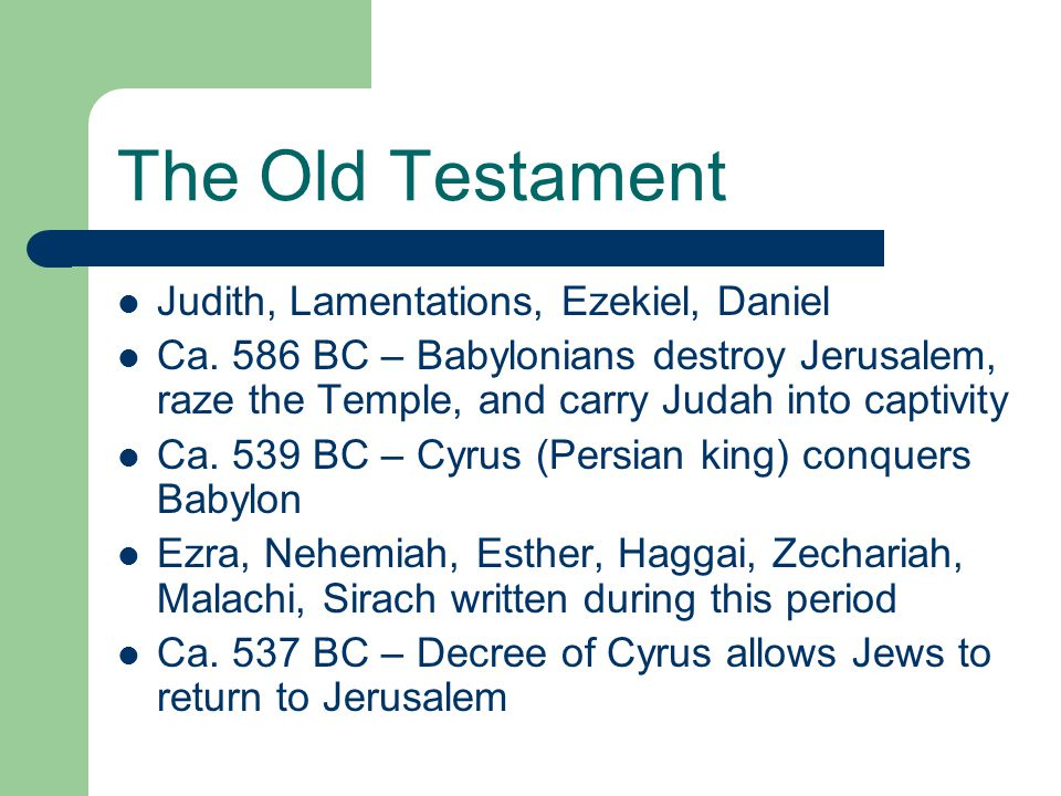 The Old Testament Judith, Lamentations, Ezekiel, Daniel