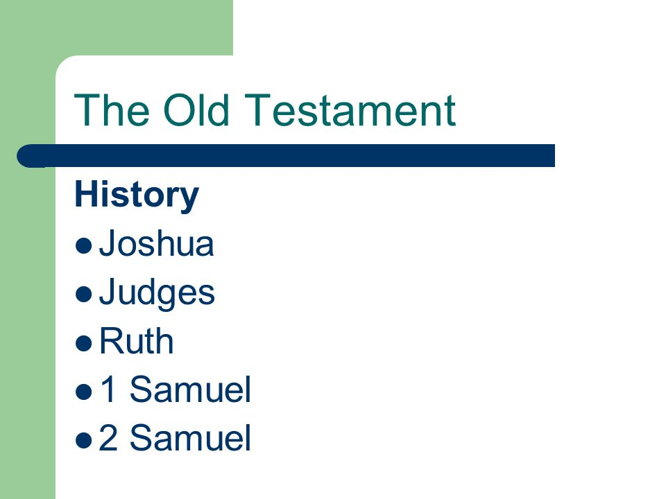 The Old Testament History Joshua Judges Ruth 1 Samuel 2 Samuel