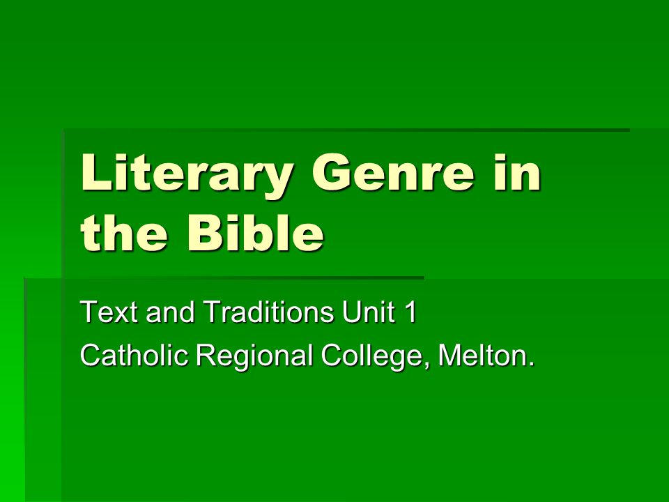 Literary Genre in the Bible