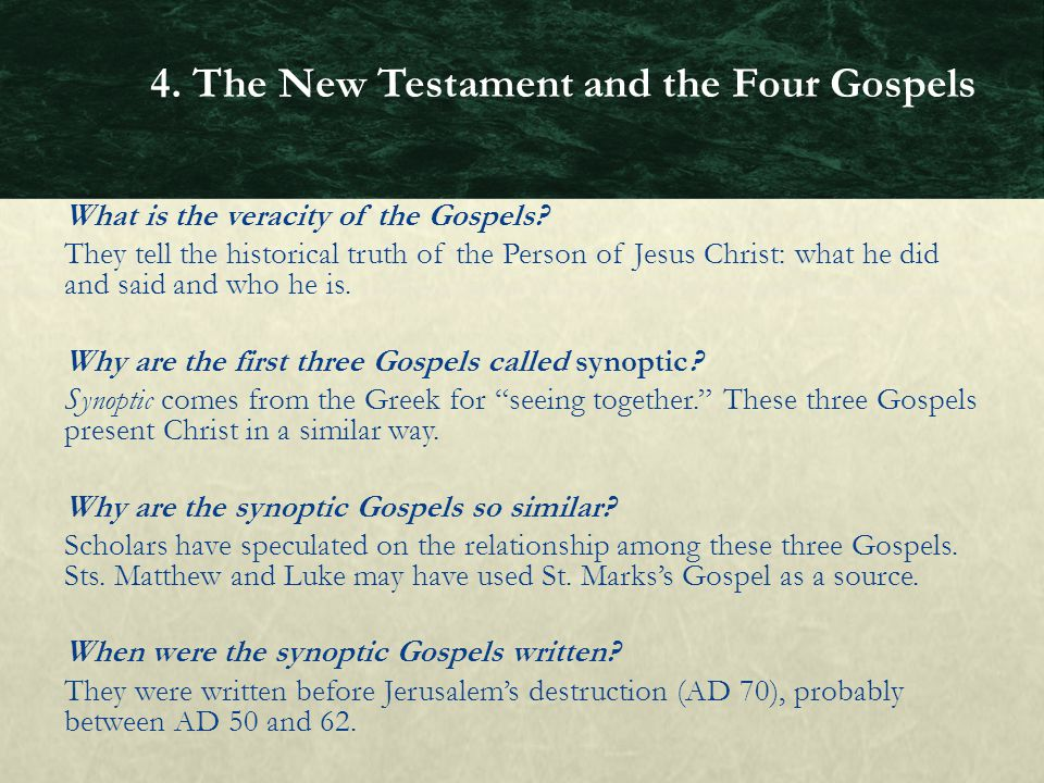 4. The New Testament and the Four Gospels