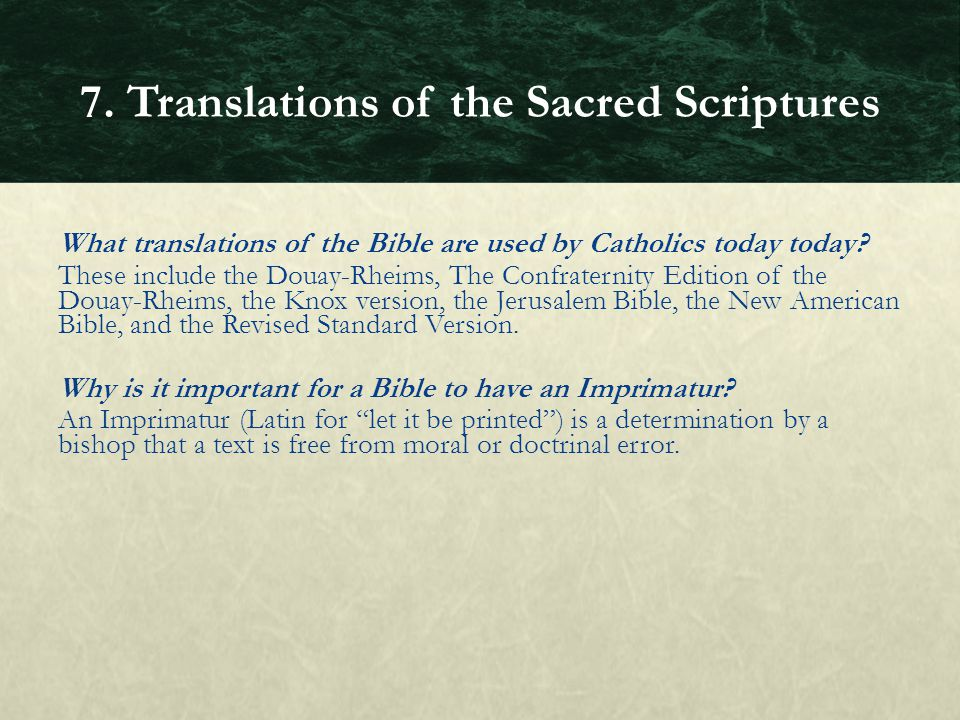 7. Translations of the Sacred Scriptures