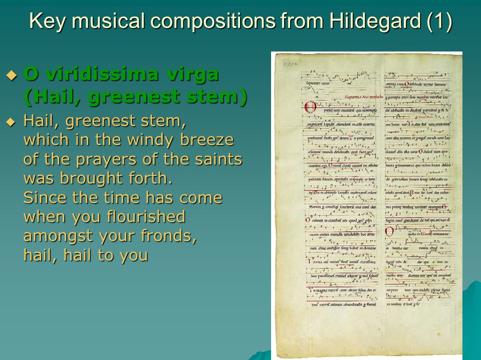 Key musical compositions from Hildegard (1)