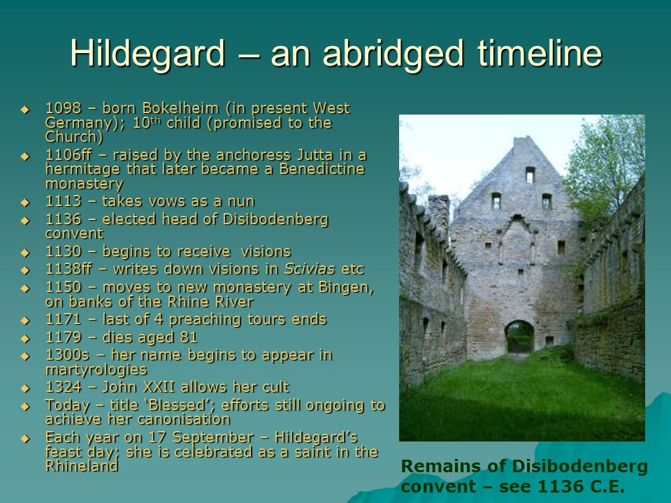 Hildegard – an abridged timeline
