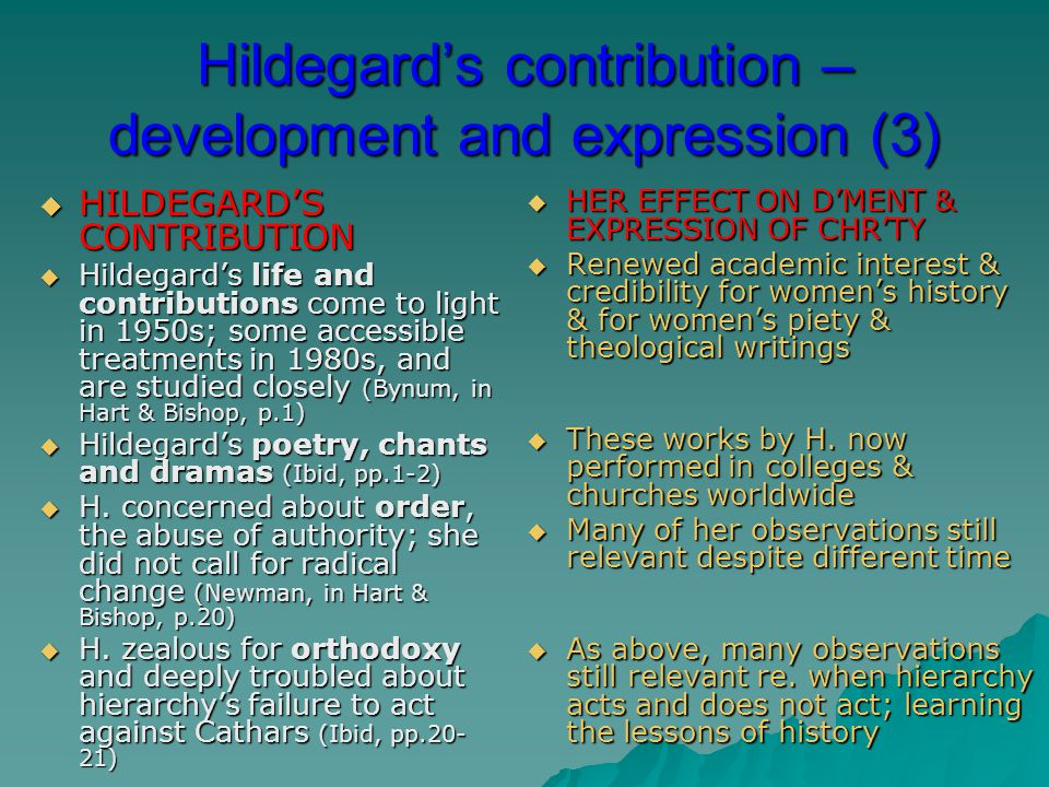 Hildegard's contribution – development and expression (3)