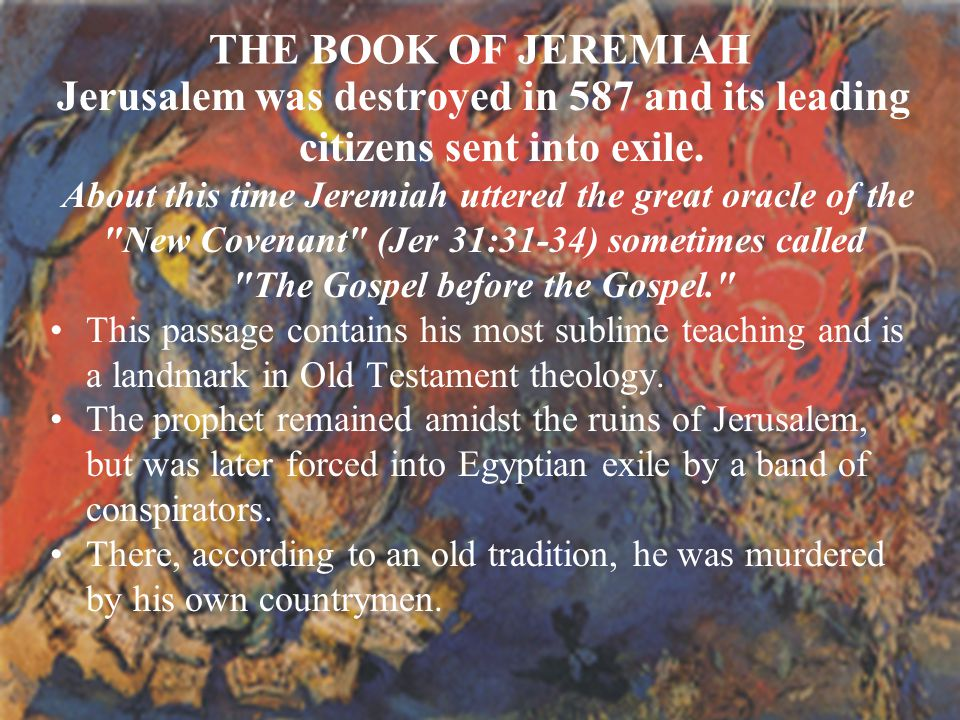 New Covenant (Jer 31:31-34) sometimes called