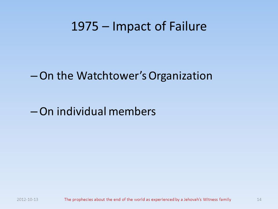 1975 – Impact of Failure On the Watchtower's Organization