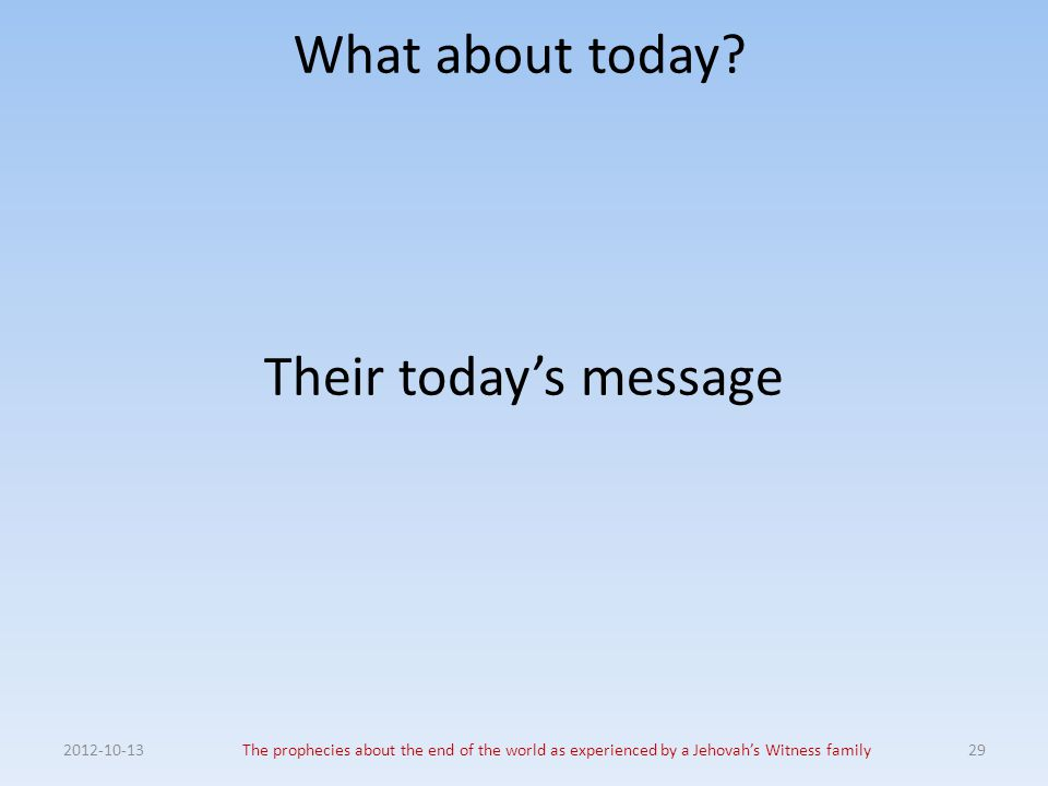 What about today Their today's message 2012-10-13