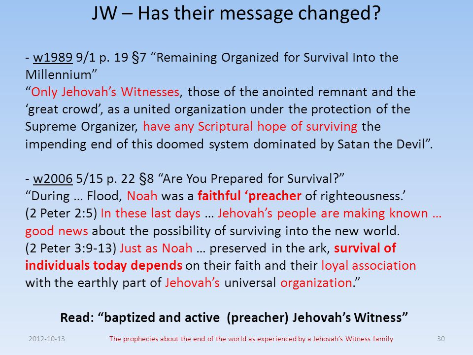 JW – Has their message changed