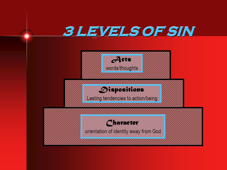 3 LEVELS OF SIN Acts Dispositions Character words/thoughts