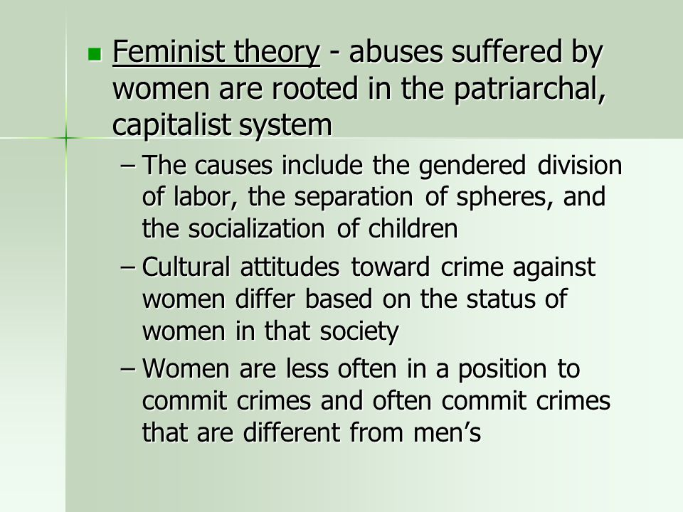 Feminist theory - abuses suffered by women are rooted in the patriarchal, capitalist system
