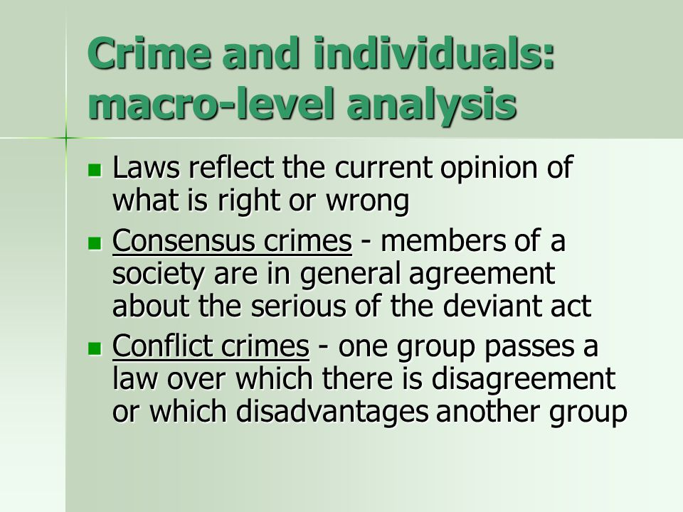 Crime and individuals: macro-level analysis