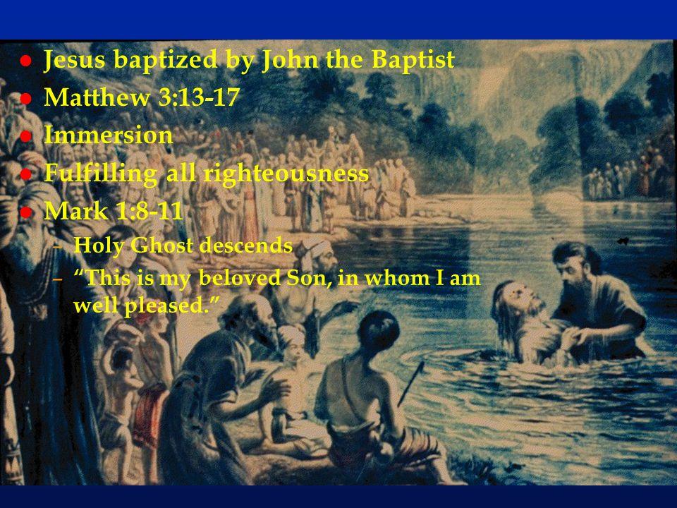 Jesus baptized by John the Baptist Matthew 3:13-17 Immersion