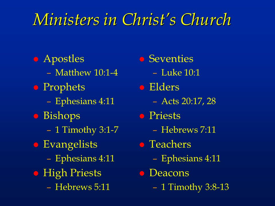 Ministers in Christ's Church
