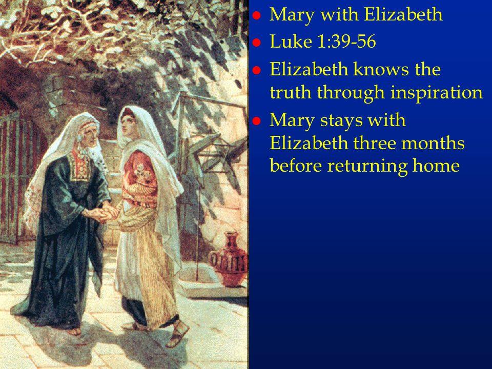 Mary with Elizabeth Luke 1:39-56. Elizabeth knows the truth through inspiration.