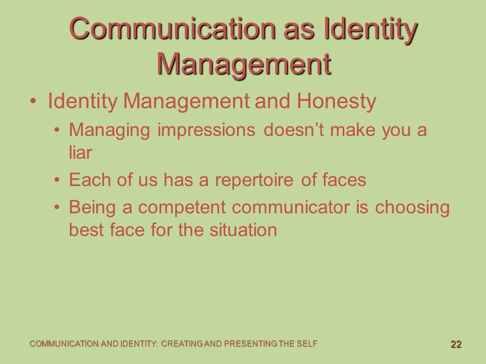 Relationship between communication and identity