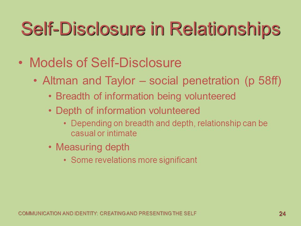 measuring self disclosure in a relationship