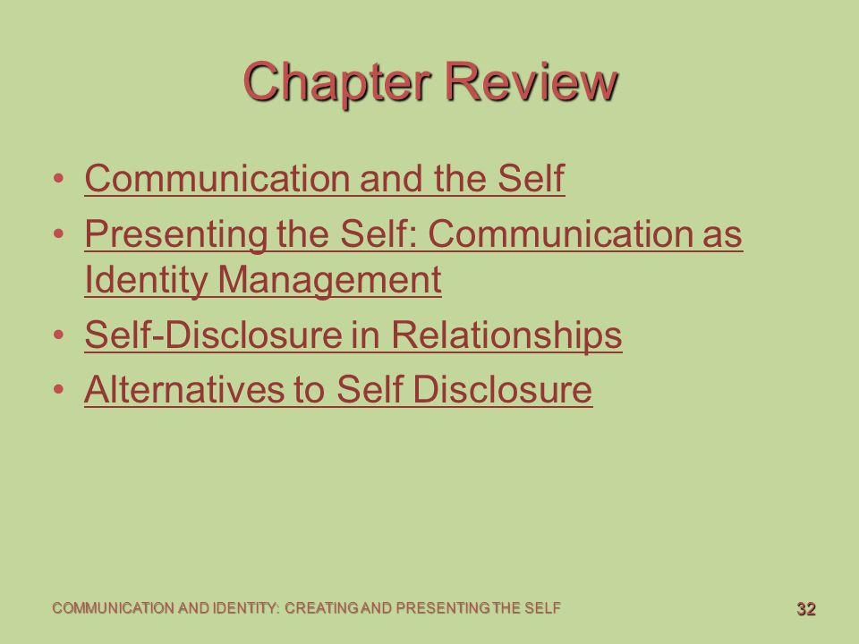 Chapter Review Communication and the Self