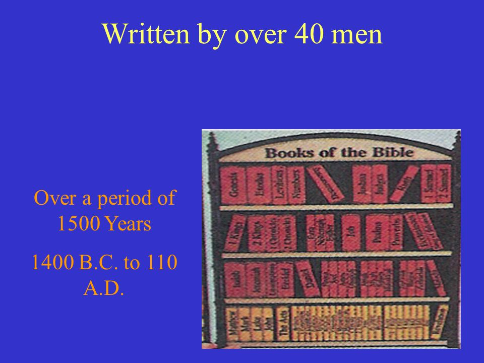 Written by over 40 men Over a period of 1500 Years