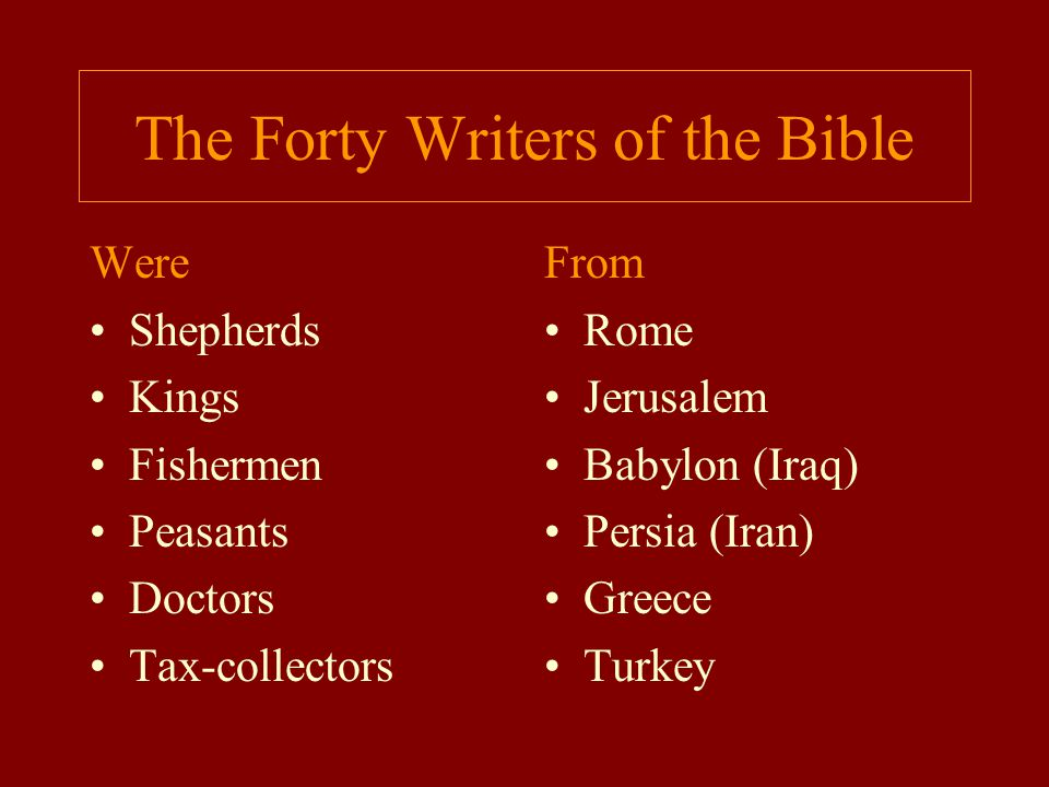 The Forty Writers of the Bible
