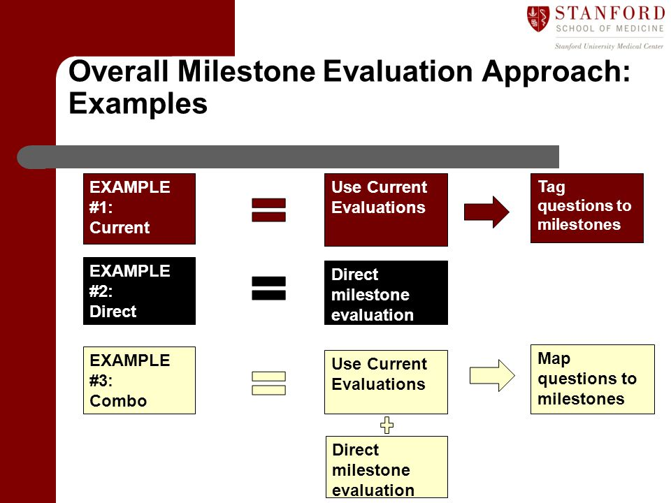 Overall Milestone Evaluation Approach: Examples
