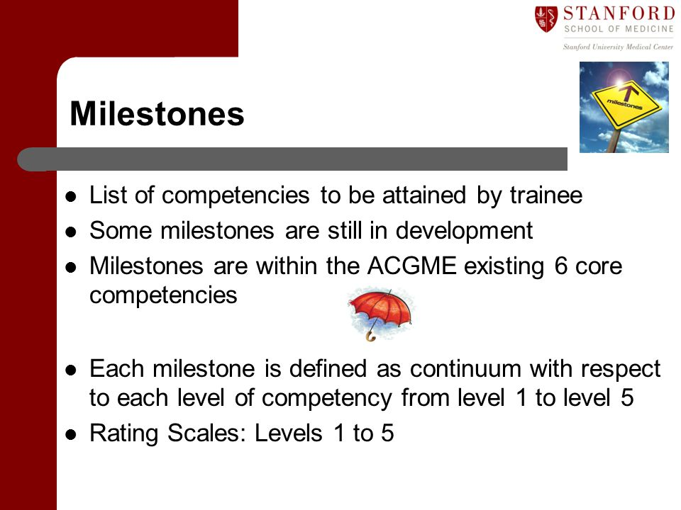 Milestones List of competencies to be attained by trainee