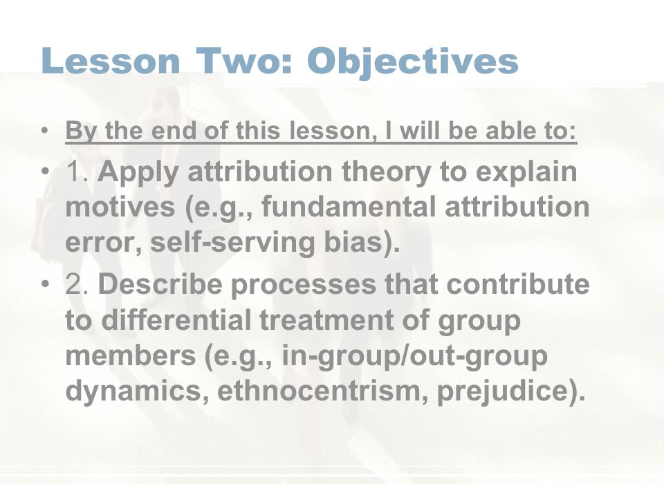 Lesson Two: Objectives