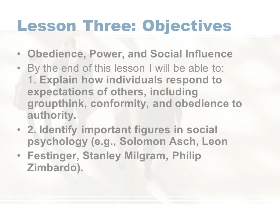 Lesson Three: Objectives