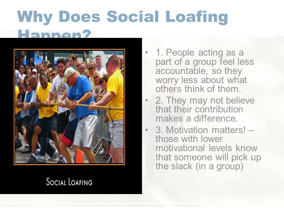 Why Does Social Loafing Happen