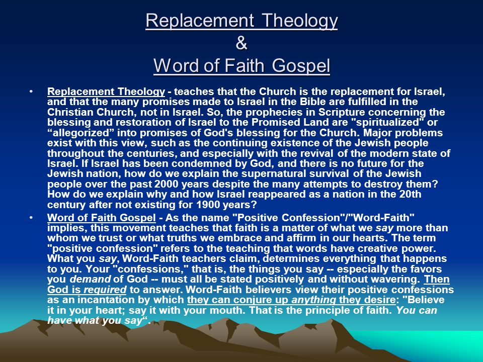 Replacement Theology & Word of Faith Gospel