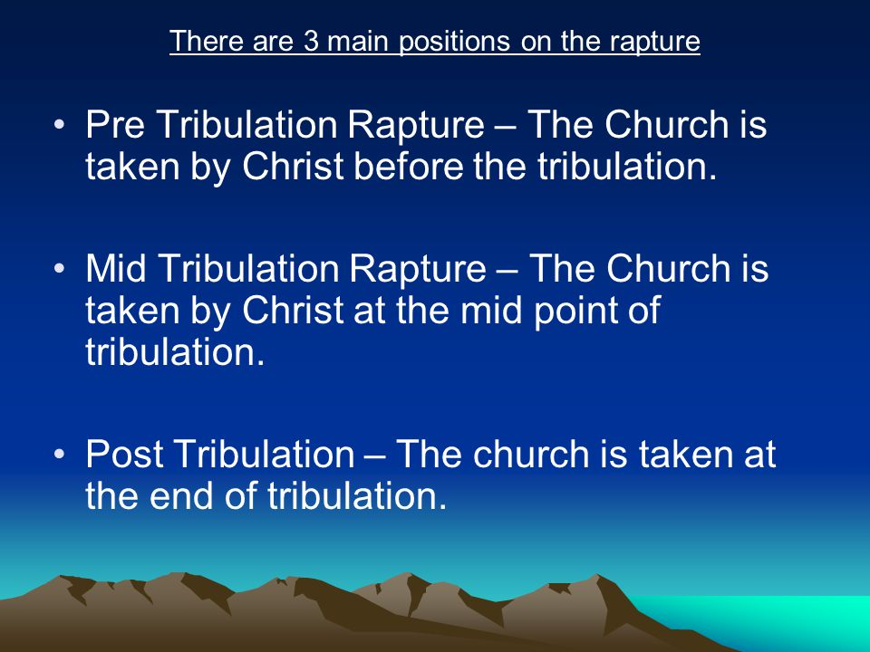 Evidence of pre tribulation rapture in 1