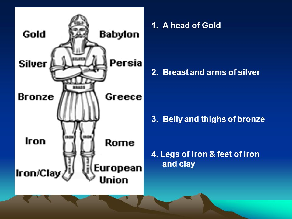 1. A head of Gold 2. Breast and arms of silver. 3. Belly and thighs of bronze.